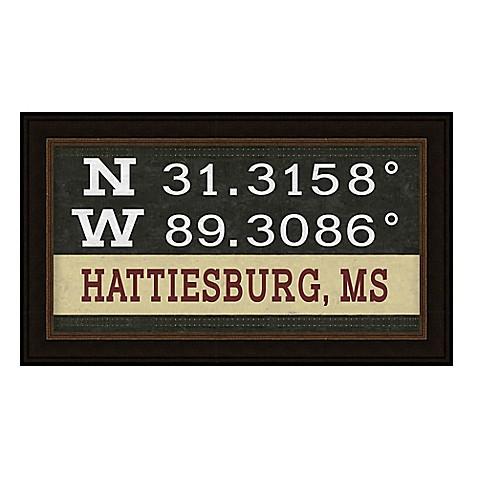 buy hattiesburg mississippi coordinates framed wall art from bed bath beyond. Black Bedroom Furniture Sets. Home Design Ideas