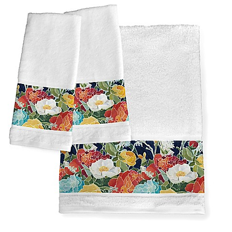 Laural Home Midnight Floral Bath Towel Collection Bed Bath Beyond