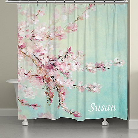 Buy Laural Home Cherrry Blossoms Shower Curtain In Pink Blue From Bed Bath