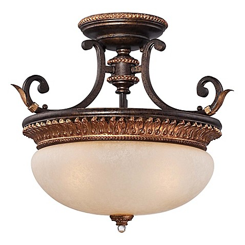 Metropolitan Home Bella Cristallo 3 Light Semi Flush Mount Ceiling Fixture In French Bronze