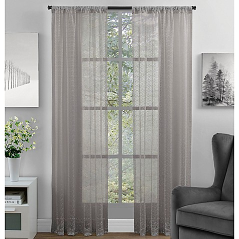 Chevron Lace Rod Pocket Window Curtain Panel Bed Bath Beyond