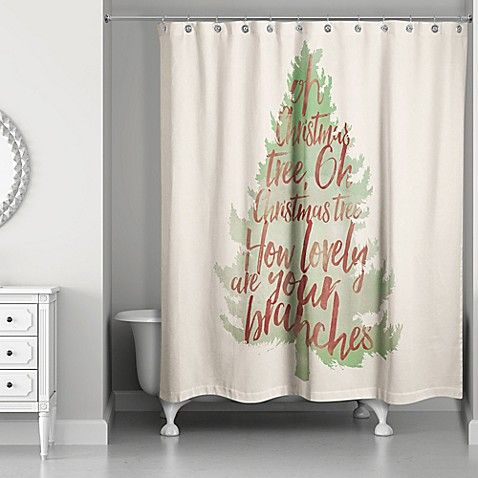 buy watercolor christmas tree shower curtain in green red from bed bath beyond. Black Bedroom Furniture Sets. Home Design Ideas