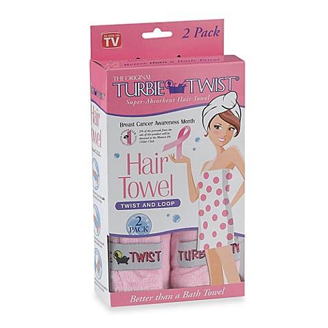 Pink turbie twist hair towel set of 2 for Home spa brand towels