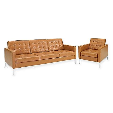 Modway Loft Leather 2 Piece Sofa And Armchair Set In Tan