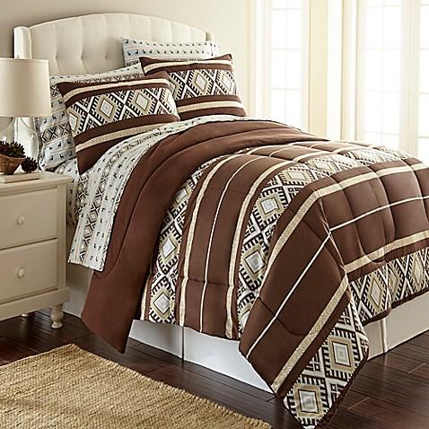 Micro Flannel 174 Comforter Set In Reindeer Stripe Bed Bath