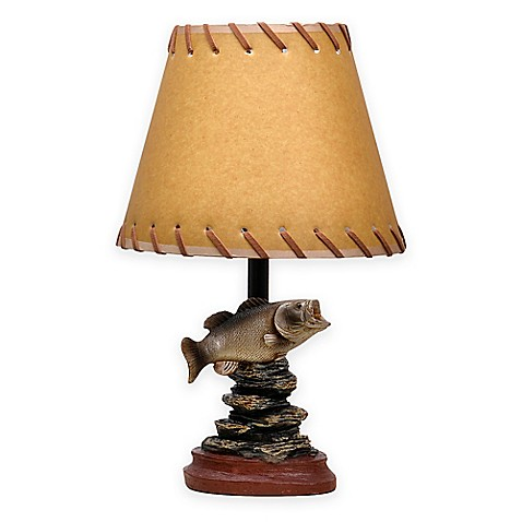 Bass fish theme accent lamp with oiled paper shade bed for Fish cleaning table bass pro