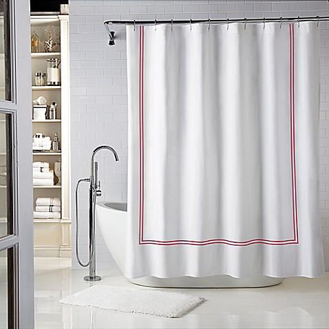Buy Wamsutta Baratta Stitch 72 Inch X 84 Inch Shower Curtain In Seaglass Red From Bed Bath Beyond