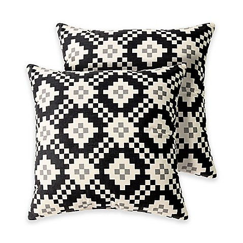 Madison Square 18-Inch Decorative Pillows : Buy Wadsworth 18-Inch Square Throw Pillows in Black (Set of 2) from Bed Bath & Beyond