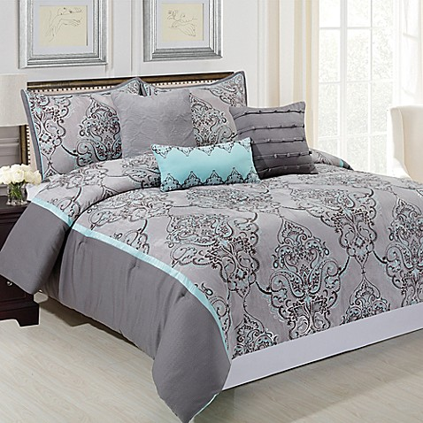 piece queen comforter set in grey blue from bed bath beyond