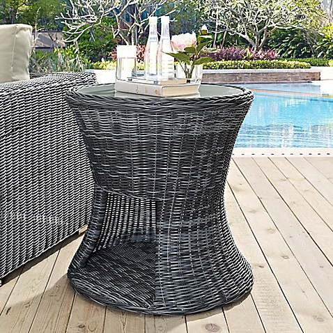 Modway Summon Outdoor Wicker Round Side Table With Glass