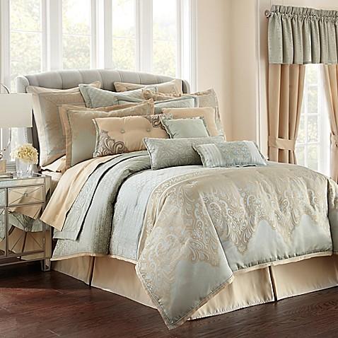 Waterford 174 Linens Aramis Comforter Set In Aqua Gold Bed