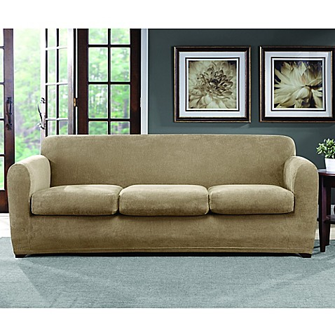 sure fit ultimate stretch chenille 3 cushion sofa slipcover bed bath beyond. Black Bedroom Furniture Sets. Home Design Ideas