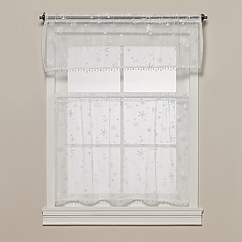Heritage Lace Wind Chill Kitchen Window Tier With Trim