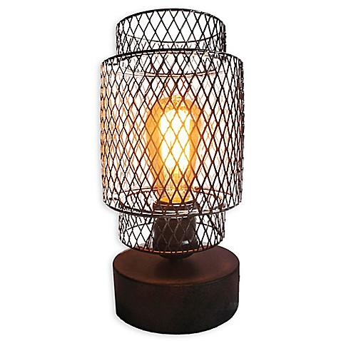 Caged Table Vintage Light Bulb Lamp with Glass Lamp Shade