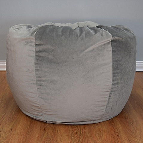 Buy Extra Large Washed Velvet Bean Bag Chair In Oyster