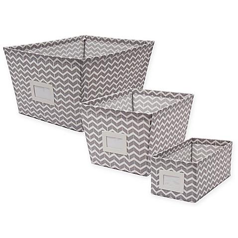 Canvas Storage Bin With Chevron Print Bed Bath Amp Beyond