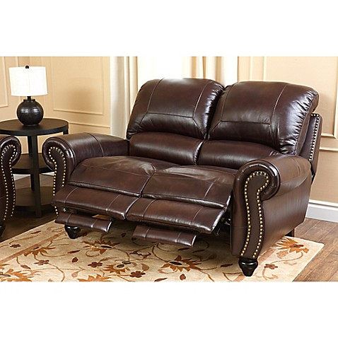 Abbyson Living 174 Charlotte Leather Loveseat In Burgundy