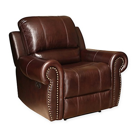 buy abbyson living sedona leather recliner in burgundy