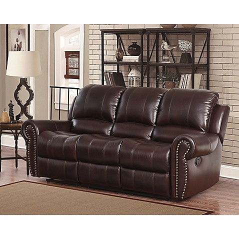 Buy abbyson living sedona leather sofa in burgundy from for Abbyson living sedona leather chaise recliner