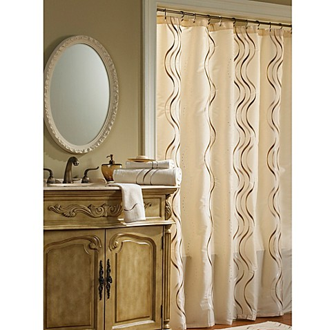 Croscill dante 72 inch x 75 inch fabric shower curtain in for Brown and gold bathroom accessories