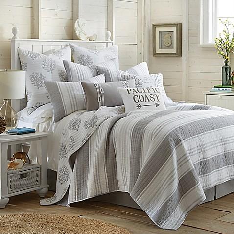 Levtex Home Nantucket Reversible Quilt Set in Grey BedWhite Coastal Bedding