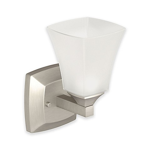 Buy Moen Voss 1 Light Bath Fixture In Brushed Nickel With Glass Shade From B