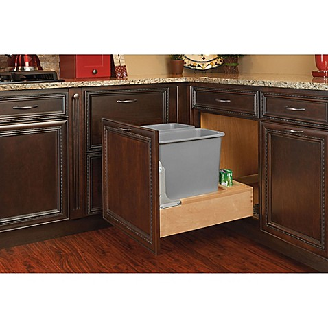 rev a shelf wood double pull out waste containers with. Black Bedroom Furniture Sets. Home Design Ideas