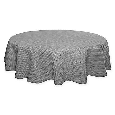 Terra Woven Lyon 70 Inch Round Tablecloth In Grey Bed