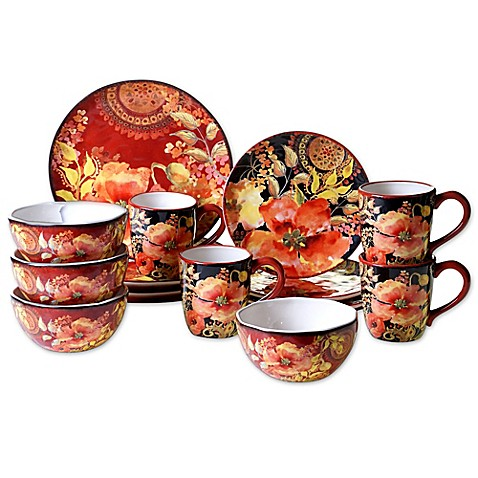 Certified International Watercolor Poppies 16 Piece Dinnerware Collection Bed Bath Amp Beyond