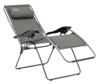 Chair Flat Fold Layback Lounger (Charcoal Grey)