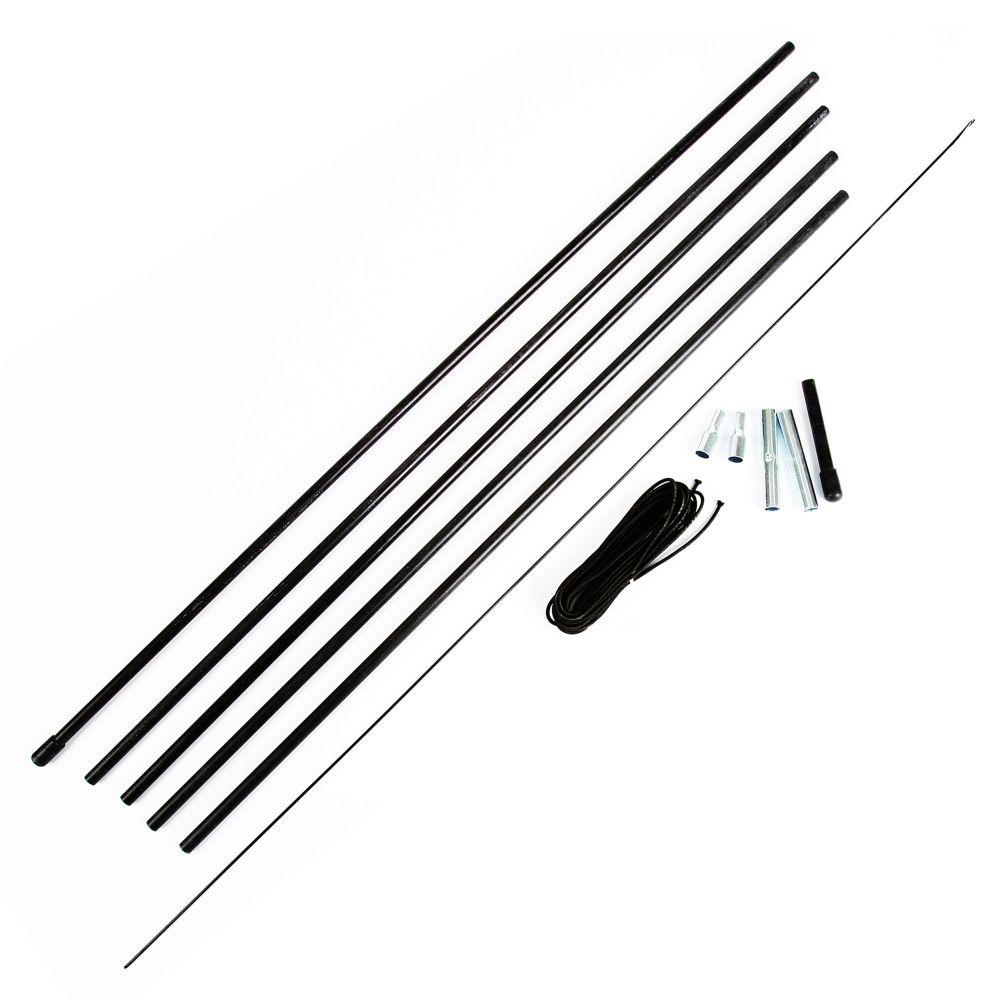 Repair Kit - Tent Fiberglass Pole 8.5mm Diameter, 5-Pole Sections, 2-vinyl end caps and 2-end tips, 1-11ft shock cord