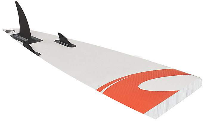 An upside-down Sevylor Paddle Board displaying the fins