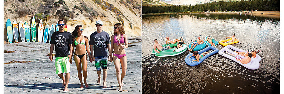 A pair of side-by-side images. The left image shows four people (two males, two females) walking along a beach with half-a-dozen paddle boards, of various sizes and designs, leaning against a steep hillside in the background. The right image is an overhead shot of a lake with nine people (a mix of men and women) on a variety of inflatable flotation devices.
