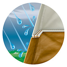 Illustration showing rain hitting the outside of the tent but the interior is kept dry by inverted seams