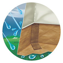 Illustration showing the cross section of a tent with dry floors even though it is pouring rain outside
