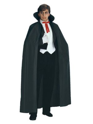 Collared Full Length Black Cape Costume for Adults