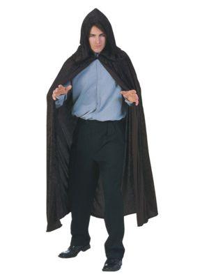 Hooded Valvet Black Cape Costume for Adults