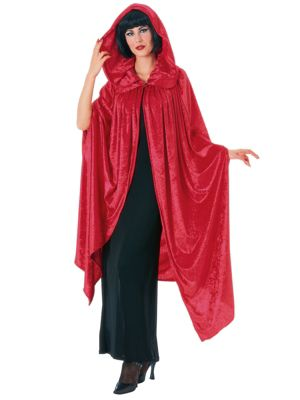 Hooded Crushed Red Velvet Cape Costume for Adult