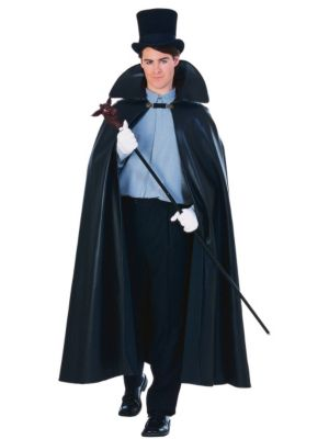 63 Inch Leather Look Cape Costume for Adults