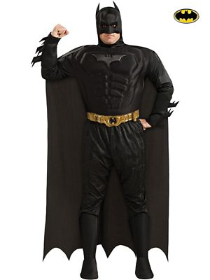 Plus Size Deluxe Dark Knight Muscle Chest Batman Costume for Adult
