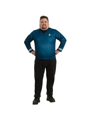 Deluxe Star Trek Mens Plus Blue Shirt Costume