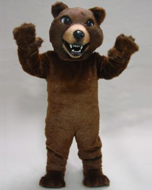 Adult Brown Grizzly Bear Mascot Costume