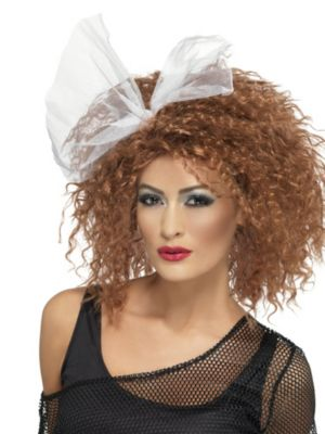 Adult Brown 1980's Wild Child Wig with Bow