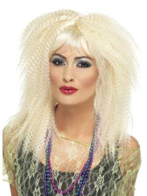 Adult 1980's Blonde Crimped Wig