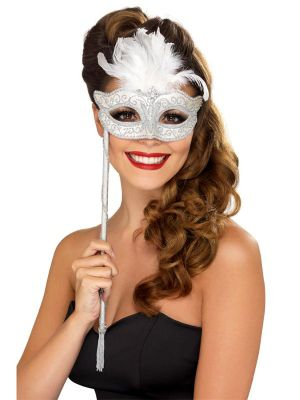 Silver White Baroque Mask