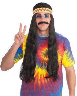 Black Unisex Hippie Wig w/detachable Headband Adult