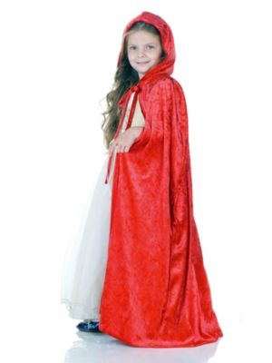 Red Panne Girl's Cape