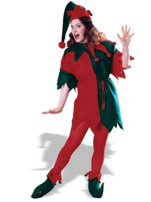 Red Green Elf Tunic Set Costume