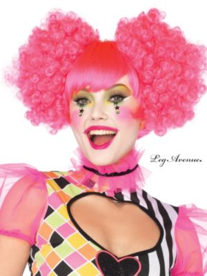 Adult Neon Pink Harlequin Clown Wig with Curly Clip-Ons