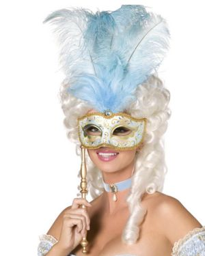 Baroque Fantasy Mask - Blue and Gold